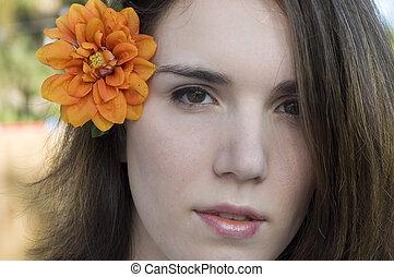 orange, femme, fleur