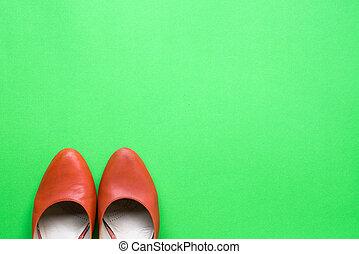 orange, femme, vert, chaussures, fond