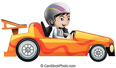 orange, femme voiture, courses