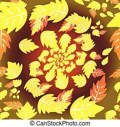 orange, feuilles automne, jaune