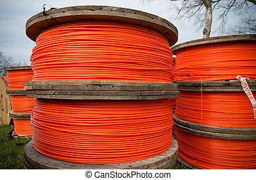 orange, fibre, câbles