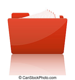 Orange file folder with paper
