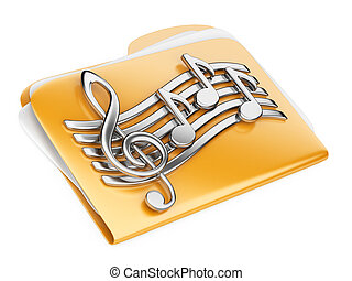 Orange files folder, 3d icon with musical notes