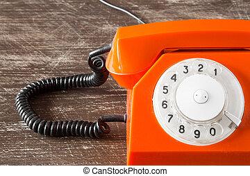 orange, fin, vue, téléphone, haut
