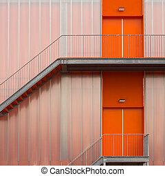 Orange Fire escape stairs
