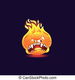 Orange fire monster with angry face and open mouth full of teeth. Cartoon flame creature with burning head and lava skin