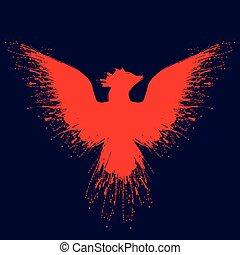 Orange fire phoenix grunge