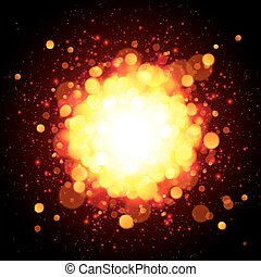 Orange fire space vector explosion - Orange fireball space...