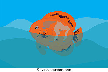 Orange Fish in Sea Background. Vector Illustration. EPS10