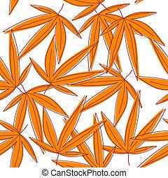 orange, flétri, feuilles, fond, seamless