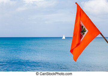 Orange Flag with Sailboat in Background