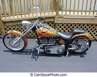 ORANGE FLAMES - MOTORCYCLE