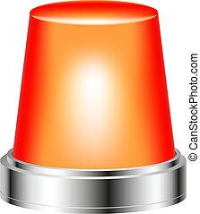 Orange flashing siren isolated on white background