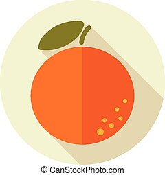 Orange flat icon with long shadow