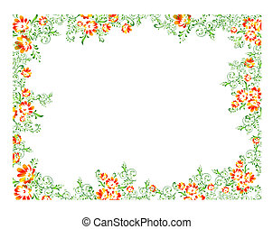 orange, floral, cadre, vert
