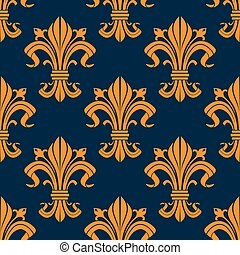 Orange floral fleur-de-lis seamless pattern