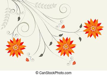 orange, floral, résumé, fond