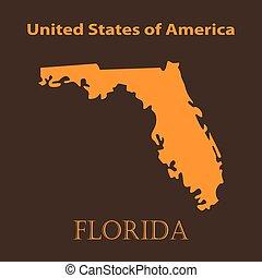 Orange Florida map - vector illustration.