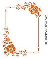 orange flower border - Orange frame from decorative flowers ...
