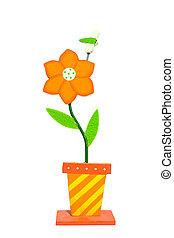 orange flower, dragonfly invention