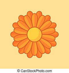 Orange Flower - Simple illustration of orange flower with ...