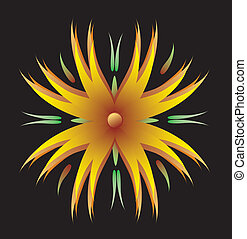 Orange flower - The symbol of a blossoming flower on a black...