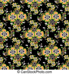 orange flowers on a black background seamless pattern