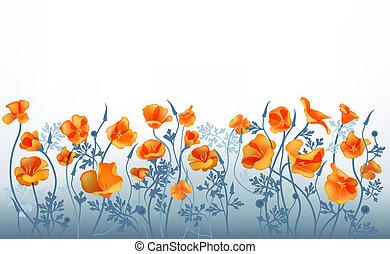 Refine blue background with orange flowers.