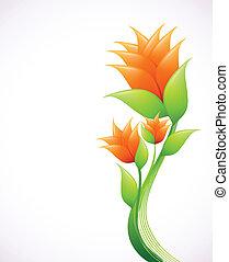 orange, flowers., vecteur, élégance, illustration