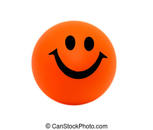 Orange foam ball with a smile.