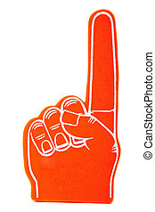 "Orange foam spirit finger signifying ""we are number 1"" pointing up"