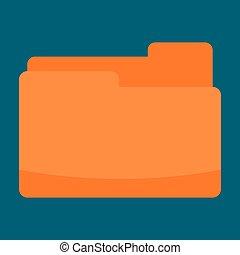Orange folder icon, flat style