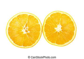 orange, fond blanc, moitié
