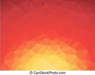 orange, fond jaune, rouges