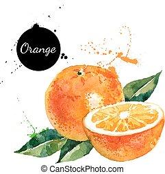 orange fond, målning, vattenfärg, hand, oavgjord, vit
