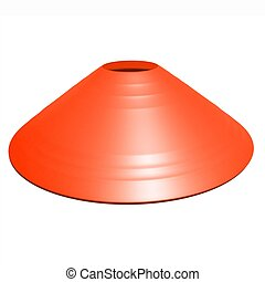 Orange football soccer cone isolated