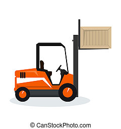 Orange Forklift Lifted the Box Up