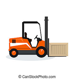 Orange Forklift Truck Isolated on White