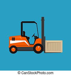 Orange Forklift Truck with a Box