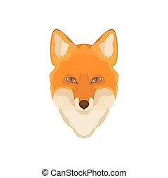 Orange Fox head. Vector image.