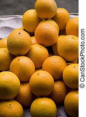 orange, frais, marché, fruits