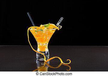 orange, frais, mojito, cocktail