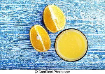 orange, frais, table