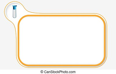 Orange frame for your text and test tube