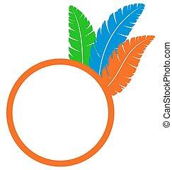 Orange frame with feathers isolated on white