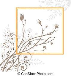 Orange frame with flowers