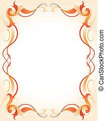 Orange frame with stripes - Vector illustration of a orange...
