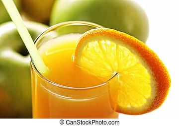 Orange fresh juice and apples