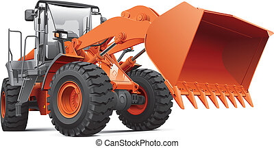 Detailed vectorial image of orange large front-end loader, isolated on white background. Contains gradients, blends and transparency. Easily edit: file is divided into logical layers and groups.