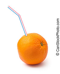 Orange fruit and sipper isolated on white background